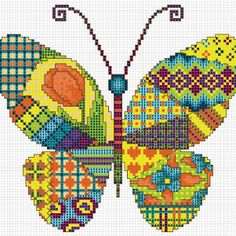 This DIY cross stitch butterfly design will make your heart soar! It\'s got a vivid patchwork motif that will not go unnoticed. Perfect for throw pillows!