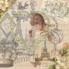 Paris Vintage Collage with Child Greeting Card by Mary Hubley