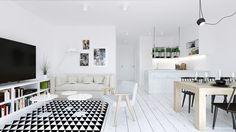 Salon z małą kuchnią w bieli