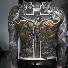 Jesus On The Cross Religious Tattoo Male Full Back