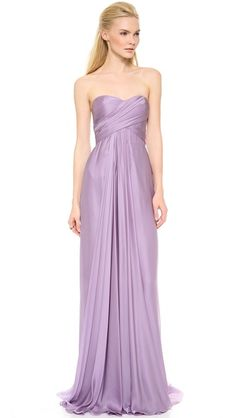 Reem Acra Strapless Ruched Gown Note: Style of the dress – sweetheart neckline in light pink silk