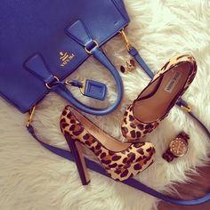 prada bag in blue with leopard pump- Prada handbags new collection http://www.justtrendygirls.com/prada-handbags-new-collection/