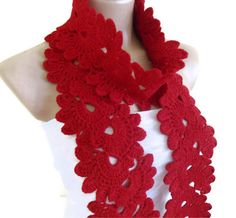 Ready to ship Crocheted Venetian red Lace by likeknitting on Etsy, $33.99