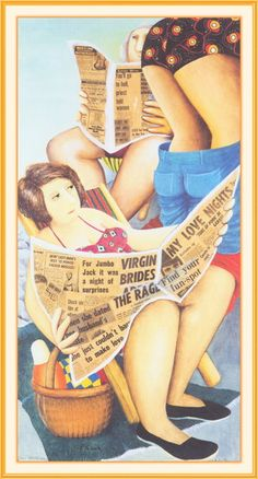 Beryl COOK 'Reading Sunday Papers' from a Vintage Publication 'The Works' Original 1982 Vintage Bookplate Print Humourous Comical Beryl Cook, Sunday Paper, Plus Size Art, Family Picnic, English Artists, Hens Night, Penguin Books, Naive Art, Girls Shopping