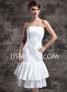 Wedding Dresses - $146.99 - Sheath/Column Strapless Knee-Length Taffeta Lace Wedding Dress With Beadwork Sequins (002024077) http://jjshouse.com/Sheath-Column-Strapless-Knee-Length-Taffeta-Lace-Wedding-Dress-With-Beadwork-Sequins-002024077-g24077