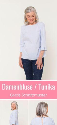 Gratis Schnittmuster für eine hübsche Damenbluse oder Tunika.Viele schöne Details. Grösse XS - XXL. Mit ausführliche Anleitung zum Nähen. in XS - XXL. ✂ Nähtalente.de - Magazin für Hobbyschneider ✂ Free Sewing Pattern for a woman blouse or tunic in size XS - XL. Many lovely details and a great sewing tutorial. ✂ #nähen #freebook #schnittmuster #gratis #nähenmachtglücklich #freesewingpattern #handmade #diy
