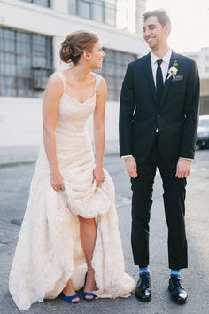 Peek-a-Blue: His: Socks. Hers: Shoes. Source: Photo by Judy Pak at Dreamlite Photography via Style Me Pretty