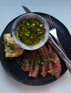 Chimichurri Sauce — delicious with grilled meats, especially beef.  This recipe is based on Judy Rodgers' version for Zuni Cafe.
