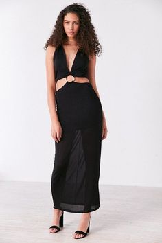 512b60e03e6c brand Finders Keepers Finders Keepers Maxwell Plunging Cutout Maxi Dress  Deep V Neck Dress