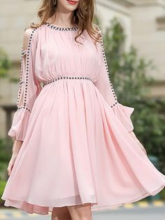 SheIn offers Open Shoulder Beading Bell Sleeve Dress & more to fit your fashionable needs. Indian Gowns Dresses, Indian Fashion Dresses, Girls Fashion Clothes, Frock Fashion, Fashion Outfits, Stylish Dresses For Girls, Stylish Dress Designs, Casual Dresses, Short Dresses