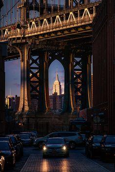 Manhattan Bridge and Empire State Building, NYC