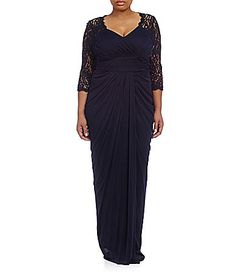Adrianna Papell Plus Ruched Lace-Sleeve Gown | Dillards.com