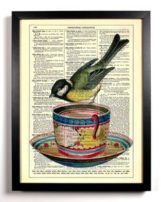 Little Bird On Teacup Repurposed Book Upcycled Dictionary Art Vintage Book Print Recycled Vintage Dictionary Page via Etsy.