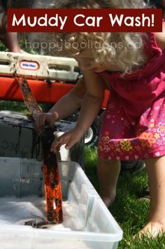 muddy car wash - happy hooligans - kids mud and water sensory activity