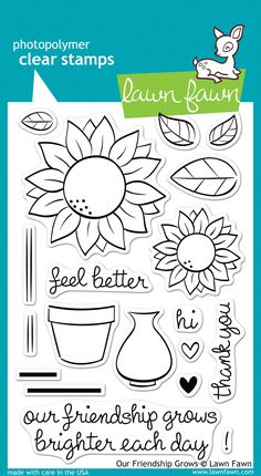 Create a bouquet of beautiful sunflowers with this set of 19 clear stamps! This stamp set coordinates perfectly with Our Friendship Grows Lawn Cuts custom craft dies. 4 x 6 stamp set. Adult Coloring, Coloring Pages, Small Sunflower, Lawn Fawn Blog, Lawn Fawn Stamps, Our Friendship, Tampons, Planner Organization, Floral Illustrations