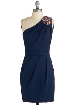 Deep Sea Date Dress - Short, Blue, Solid, Beads, Wedding, Cocktail, Sheath / Shift, One Shoulder, Pleats, Top Rated, Party, Bridesmaid
