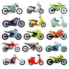 Classic motorcycle motorbike flat. Travel Icons. $8.00