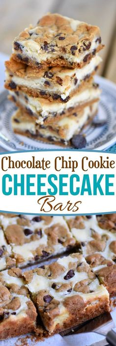 These easy Chocolate Chip Cookie Cheesecake Bars are made with just five ingredients! This easy dessert recipe will satisfy all your cravings! // Mom On Timeout Desserts Chocolate Chip Cookie Cheesecake Bars Oreo Dessert, Coconut Dessert, Brownie Desserts, Mini Desserts, Easy Dessert Bars, Easy Yummy Desserts, Creative Desserts, Easy Sweets, Desserts For Dinner Party
