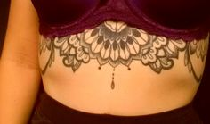Mehndi styled pointillism, rib-cage / sternum tattoo, represents the design of my vintage inspired wedding dress.