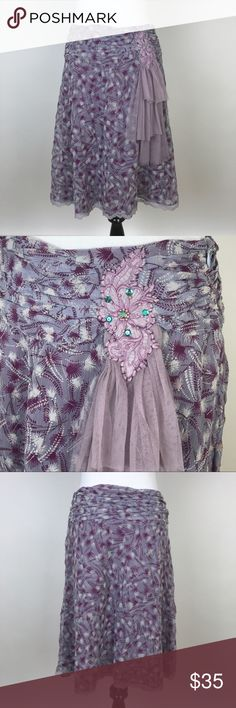 """[Free People] Vintage Silk Skirt Tulle Embellished Vintage Free People skirt. Ruched at waist. A line fit. Embellisments at hip with Tulle detail. Side zip closure. Lined. Floral graphic print:   🔹Fabric: 100% Silk (Lining Acetate) 🔹Waist: 13.5"""" flat across top 🔹Hip: 19"""" flat across 🔹Length: 23"""" 🔹Condition: Excellent pre-owned condition.    *M15 Free People Skirts A-Line or Full"""