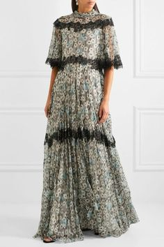 Valentino | Open-back lace-trimmed printed silk-chiffon gown | NET-A-PORTER.COM