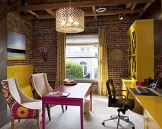 Beautiful home office ideas: Fuchsia, brown, and chartreuse.