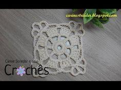 Crochet : Motivo Cuadrado con Flor de 4 petalos - YouTube Diy Crochet Tablecloth, Crochet Quilt, Crochet Squares, Crochet Granny, Crochet Doilies, Crochet Motif Patterns, Crochet Designs, Crochet Stitches, Crochet Round