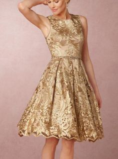 gold fit and flare party dress