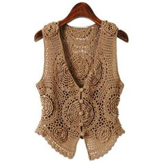 Floral Chocolate Vest free crochet graph pattern Crochet clothing ❤ liked on Polyvore featuring outerwear, vests, macrame vest, brown waistcoat, vest waistcoat, crochet vest and floral vest