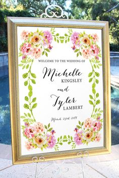 Welcome Sign Welcome Wedding Sign Rustic Watercolor by BrightPaper