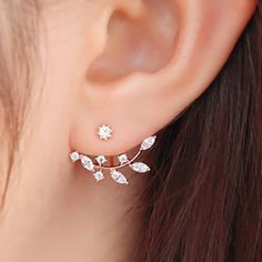 Pair of Chic Rhinestoned Leaf Branch Earrings For Women