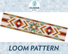 Pumpkins Pattern Loom Bead Bracelet / Cuff by ScarabJewels on Etsy