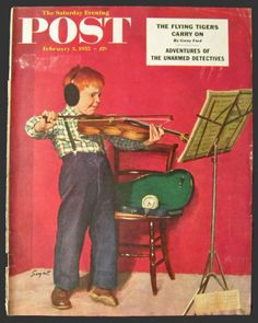 Image detail for -1955 Saturday Evening Post Cover ~ Red Headed Boy Plays Violin ...