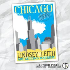 Printable Save the Date Postcard - Chicago Skyline Theme - FREE Thank You Card Included