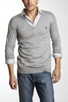 AllSaints Shadow Long Sleeve V-Neck Sweater