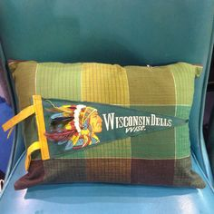 Vintage green Wisconsin Dells pennant pillow by DressyIsles on Etsy