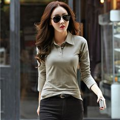 New 2017 Polo Women Long Sleeve Casual Polo Shirt For Women Plus Size Cotton Polos Mujer Autumn Winter Tops Tees Ladies Polo
