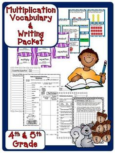 Multiplication Math Vocabulary - This is a NO PREP Multiplication Packet for your students when you are teaching multiplication. It is perfect for centers, early finishers, or as a performance task packet to give to your students. $
