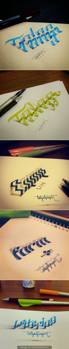 Lettering with Parallelpen&Pencil - Part 2 type by Tolga Girgin. - a grouped images picture Graffiti Lettering, Typography Letters, Typography Design, Hand Lettering, 3d Writing, Schrift Design, Inspiration Artistique, 3d Drawings, Letter Art