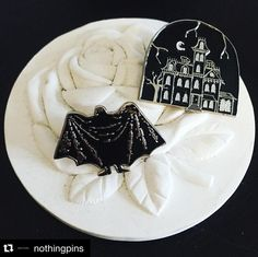"""#Repost @nothingpins  Listen to them the children of the night. What music they make! Any Edward Gorey & Addams Family fans out there? Our Dracula & 1313 Cemetery Lane pins are now in stock. Both 1.25"""" on soft enamel and the 1313 Cemetery Lane pin glows in the dark! #pingame #addamsfamily #goth #edwardgorey #pingamestrong"""