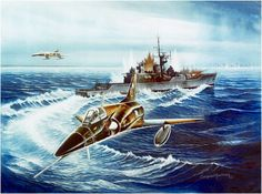 Two IAI Dagger Argentine attack the HMS Plymouth during the Falklands War