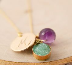 Mint Green Druzy and Amethyst  Personalized Necklace, Personalized Mint and Amethyst Bridesmaid Gifts and Favors,  Druzy Bridal Collection on Etsy, $58.00