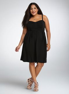 Bow Front Challis Sundress, DEEP BLACK