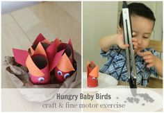 """hungry baby bird craft and fine motor exercise inspired by the book """"seven hungry babies"""""""