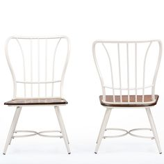 """Amazon.com: Baxton Studio Longford """"Dark-Walnut"""" Wood and White Metal Vintage Industrial Dining Chair (Set of 2): Kitchen & Dining"""