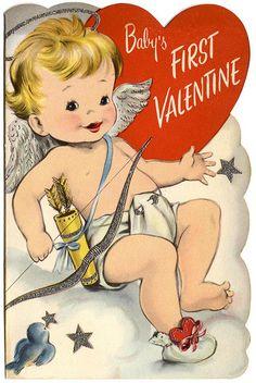 Baby's first vintage Valentine's Day card. #vintage #Valentines #card