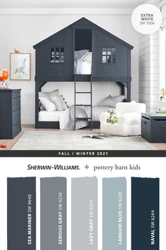 Give your little ones a room they'll love with paint colors from Sherwin-Williams. Tap this pin to explore the entire @potterbarnkids Fall/Winter 2021 paint palette featuring hues expertly chosen to match furniture and décor, then get your painting project started. #sherwinwilliams #DIY #decor #kidsbedroom #whitepaint #bluepaint #lovemypbk #pbkids #potterybarnkids #homedecor #painting #colorinspiration #renovation #paint Kids Room Paint, Room Paint Colors, Kids Rooms, Inspiration For Kids, Color Inspiration, Painting For Kids, Diy Painting, Sherwin William Paint, Pottery Barn Kids