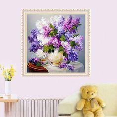 Girl12Queen Lavender Romantic DIY 5D Diamond Cross Stitch Painting Craft Home Wall Decor #homedecor