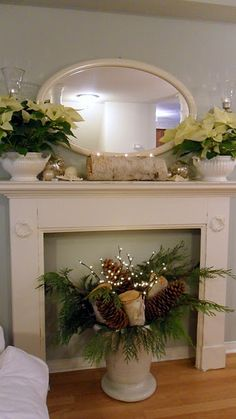 Love the use of birch in the mantel piece and the arrangement below it!  Kinda long the lines of my driftwood obsession