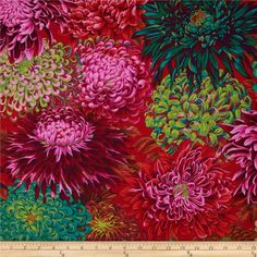 Designed by Phillip Jacobs for Westminster/Rowan Fabrics, this cotton print fabric is perfect for quilting, apparel and home decor accents. Colors include red, purple, green, teal, pink and burnt orange.